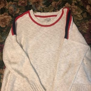 AE white sweater w blue and red stripes! size M